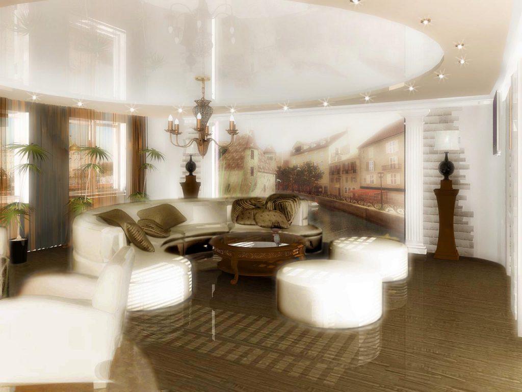Дизайн интерьера гостиной с настенной росписью
