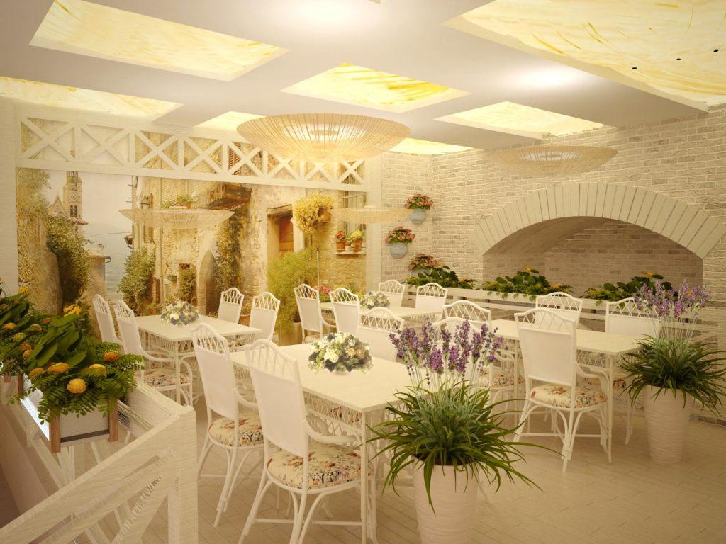 Дизайн летнего интерьера в ресторане