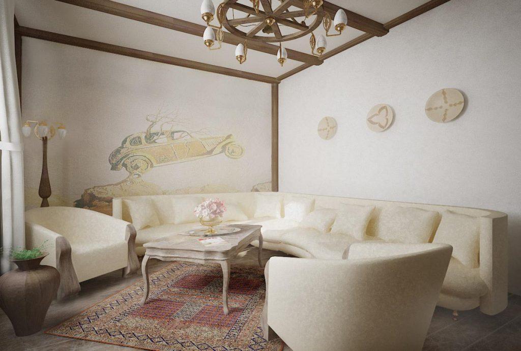 Дизайн интерьера гостиной с росписью на стене