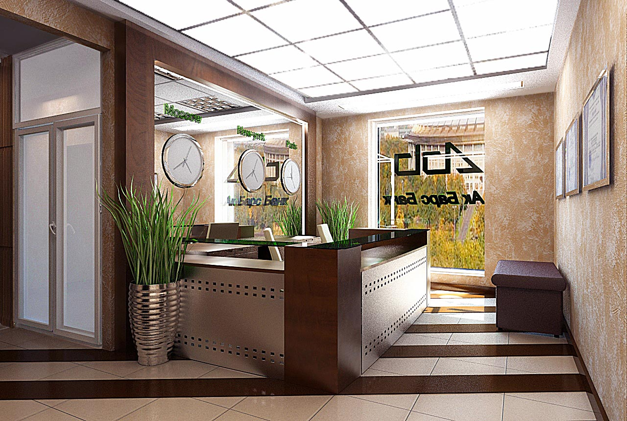 Дизайн интерьера холла в отделение банка