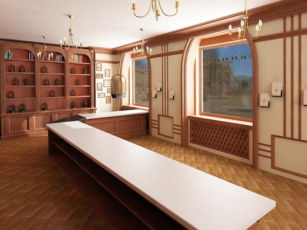 Проект дизайна интерьера чайного магазина