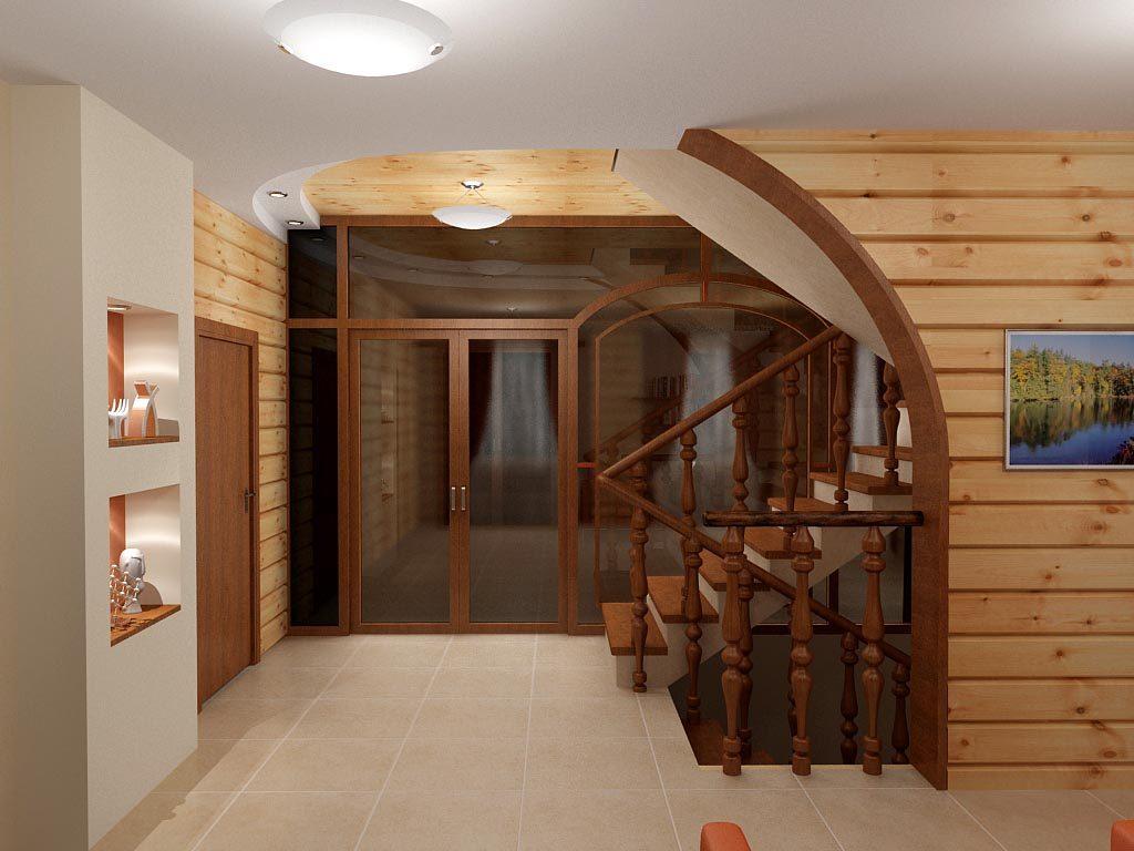 Дизайн интерьера холла в деревянном доме