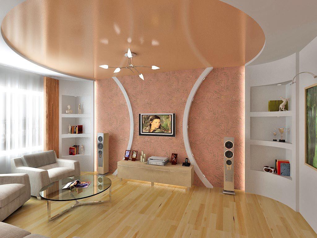 Персиковый цвет переходит со стены на потолок, что придает помещению дополнительный объем