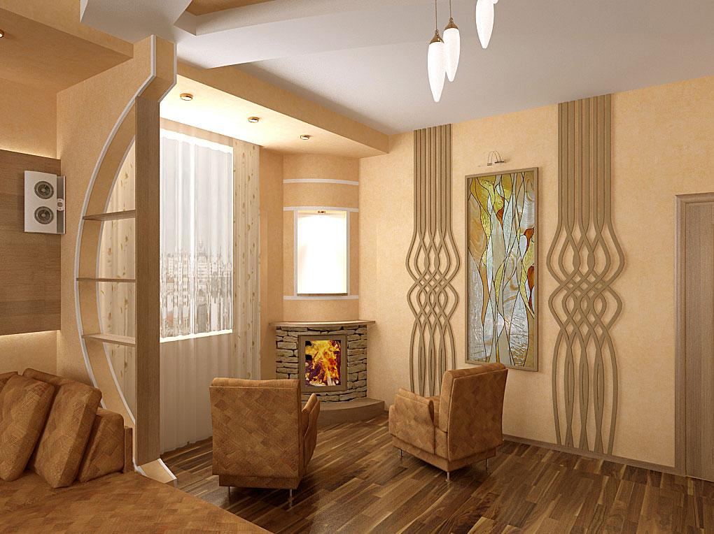 Дизайн интерьера гостиной с деревянной резьбой
