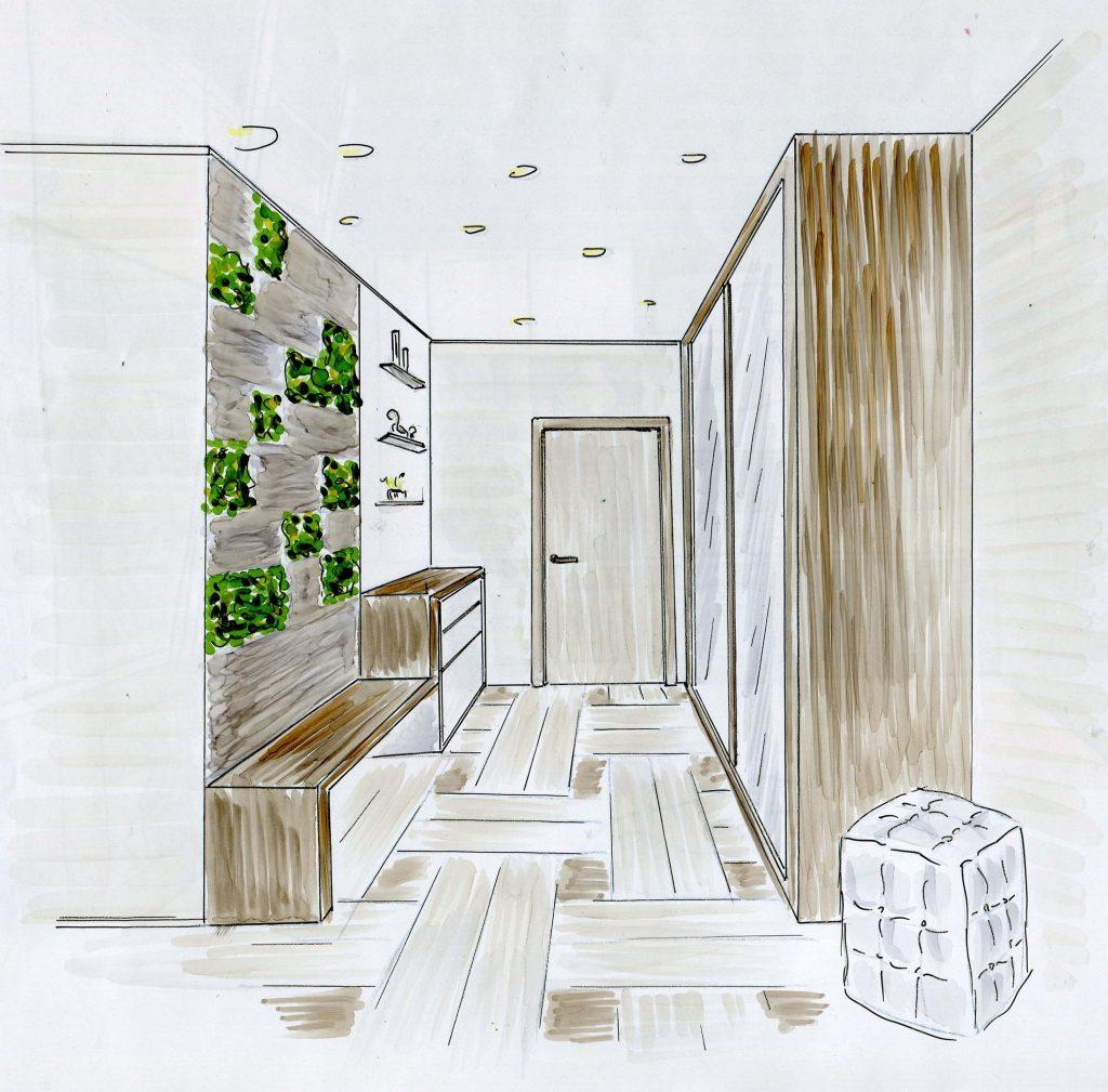 Эскиз дизайна интерьера прихожей