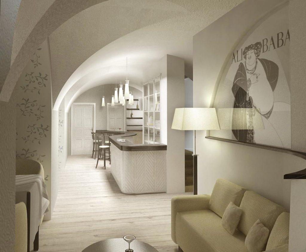 Витражи, в необычной для них черно-белой гамме, являются самым необычным украшением интерьера