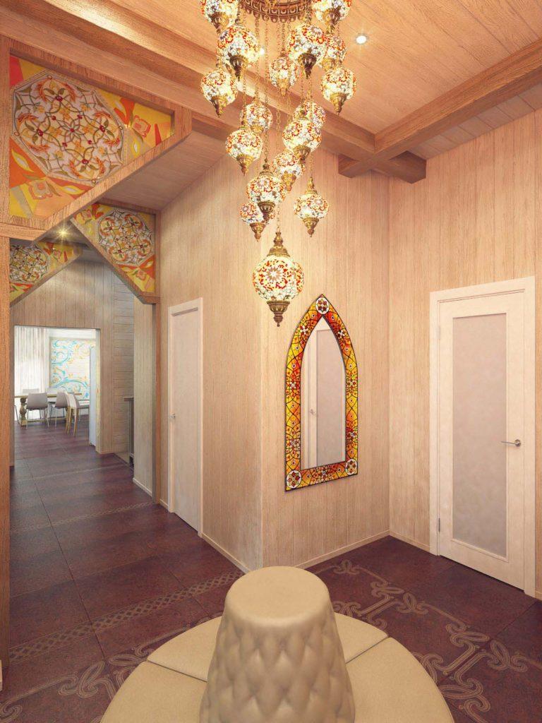 Холл в доме с элементами восточного стиля