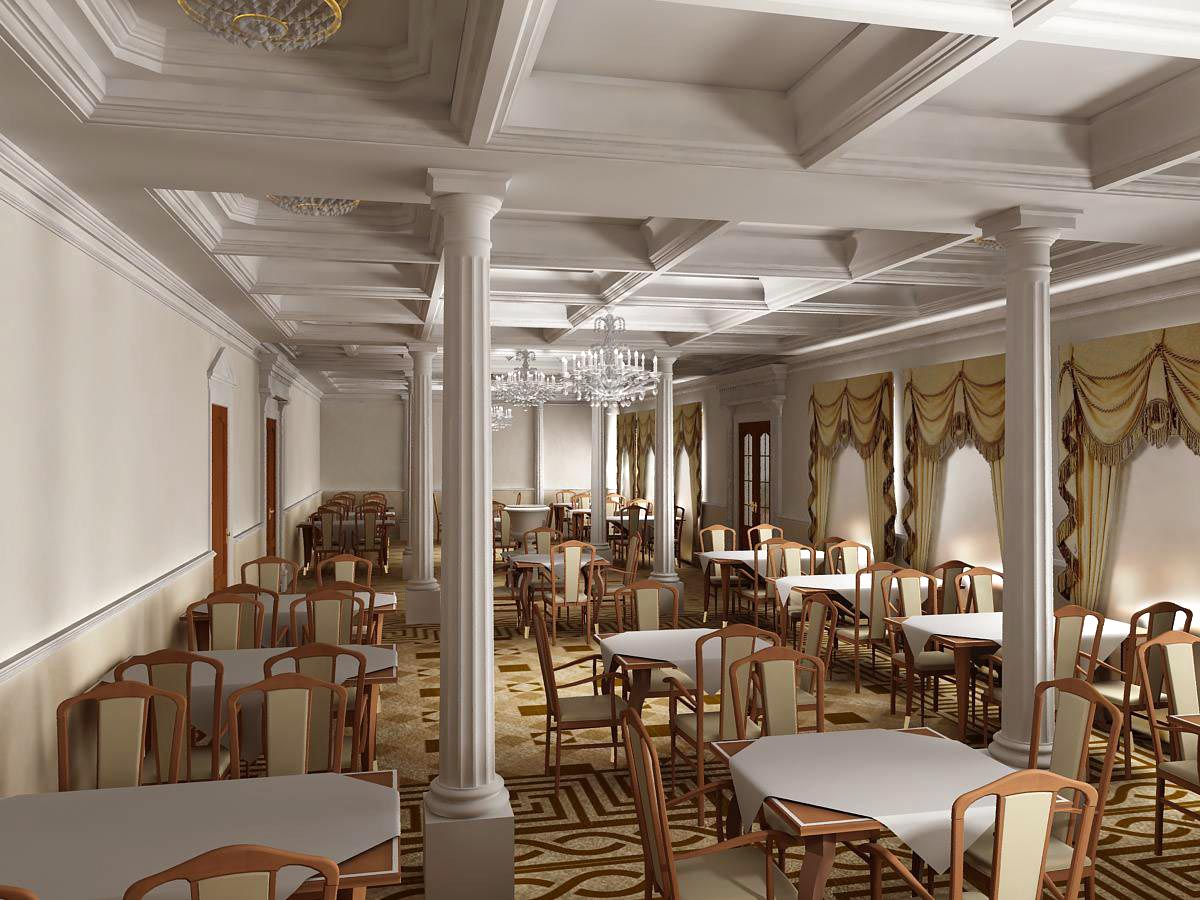 Дизайн интерьера зала ресторана в классическом стиле