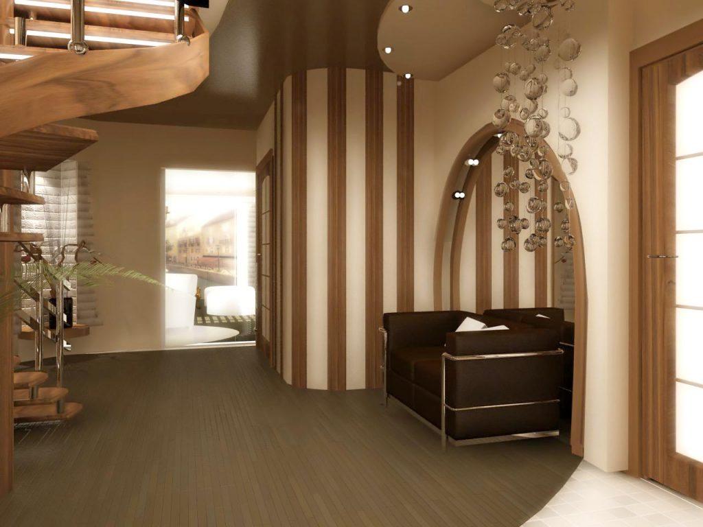 Дизайн интерьера холла в двухуровневой квартире