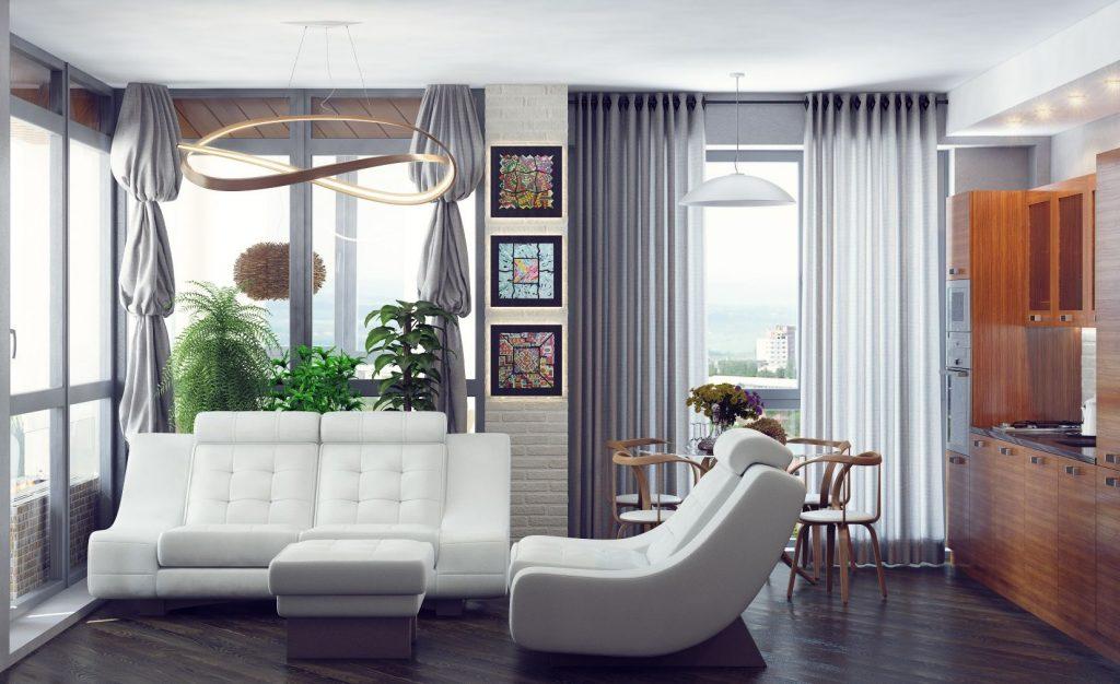 Дизайн интерьера гостиной с угловым панорамным остеклением