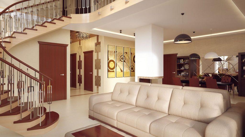 Лестница является главным украшением в гостиной