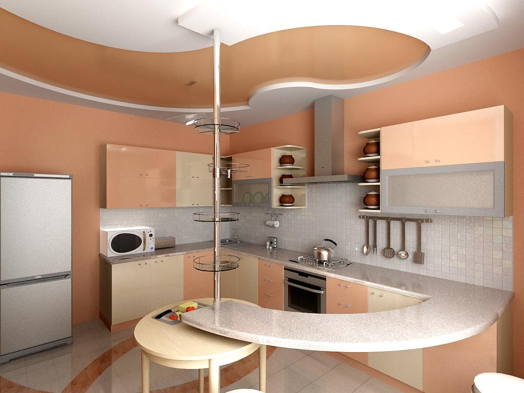 Дизайн интерьера кухни с барной стойкой сложной формы