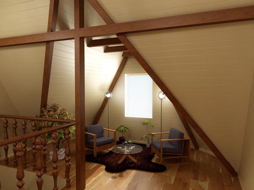 Дизайн интерьера лестничного холла в мансарде