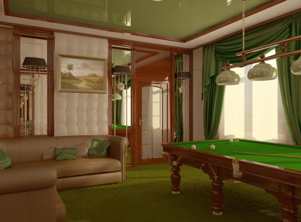 Дизайн интерьера бильярдной с отделкой панелями из кожи и дерева
