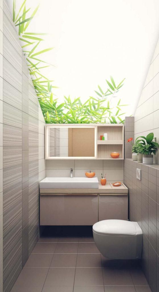 Интерьер гостевого санузла. Светопропускающий потолок с фотопечатью создает ощущение прозрачного потолка