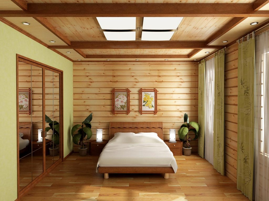 Дизайн интерьера спальни в современном стиле в доме из бруса
