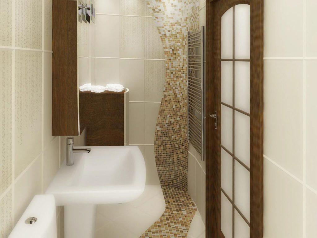 Дизайн интерьера гостевого санузла с мозаичной растяжкой из мозаикой перетекающей со стены на пол