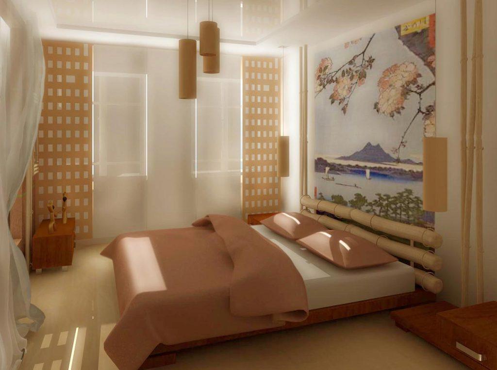Дизайн интерьера гостевой спальни в японском стиле