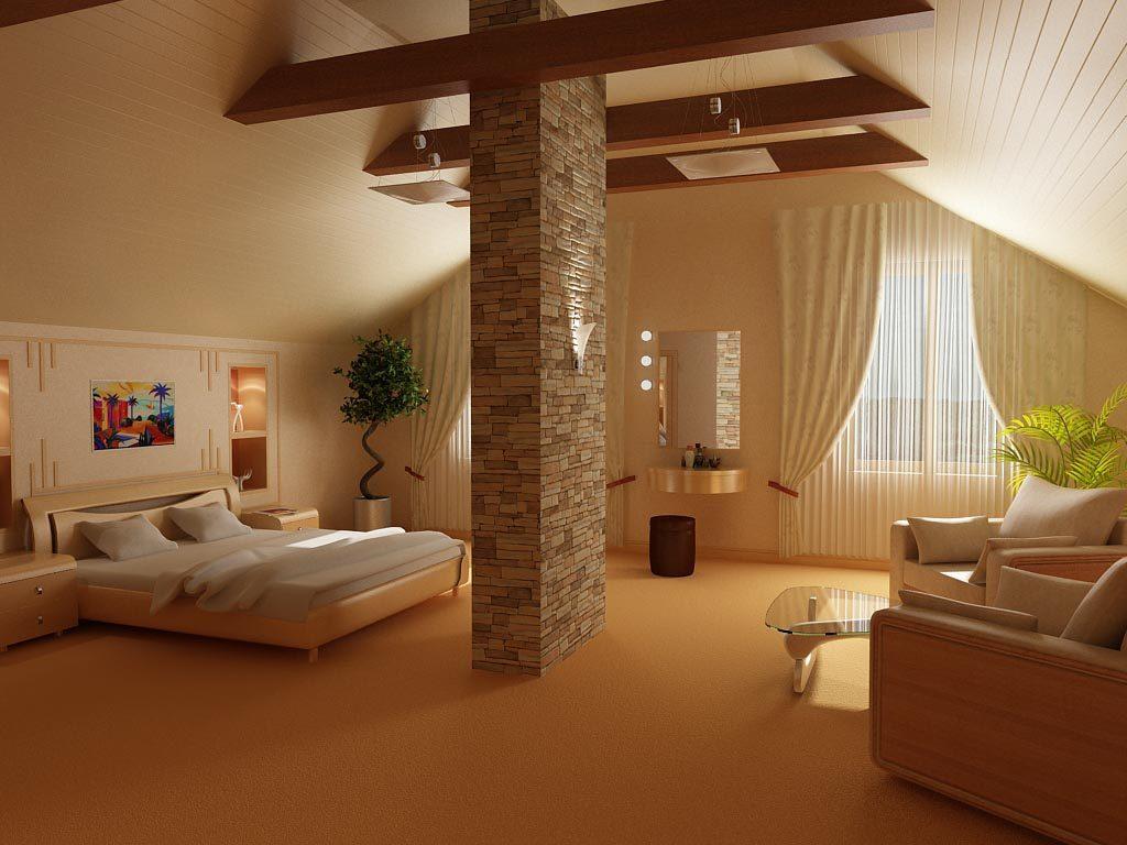 Дизайн интерьера просторной спальни с мансардным потолком