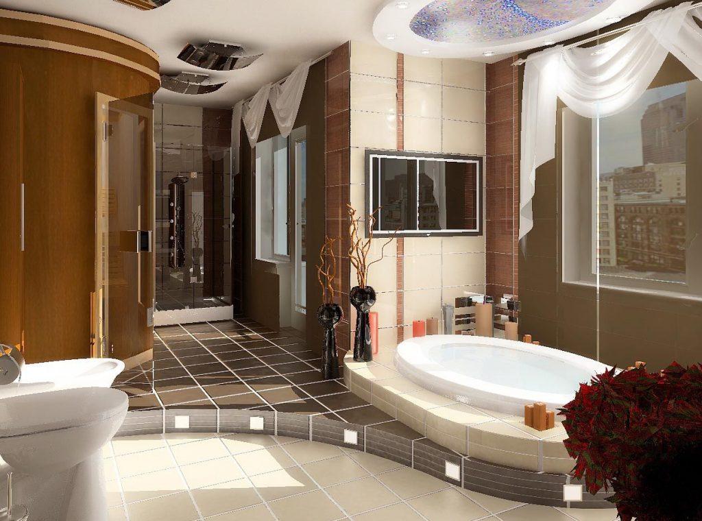 Дизайн интерьера ванной комнаты с сауной