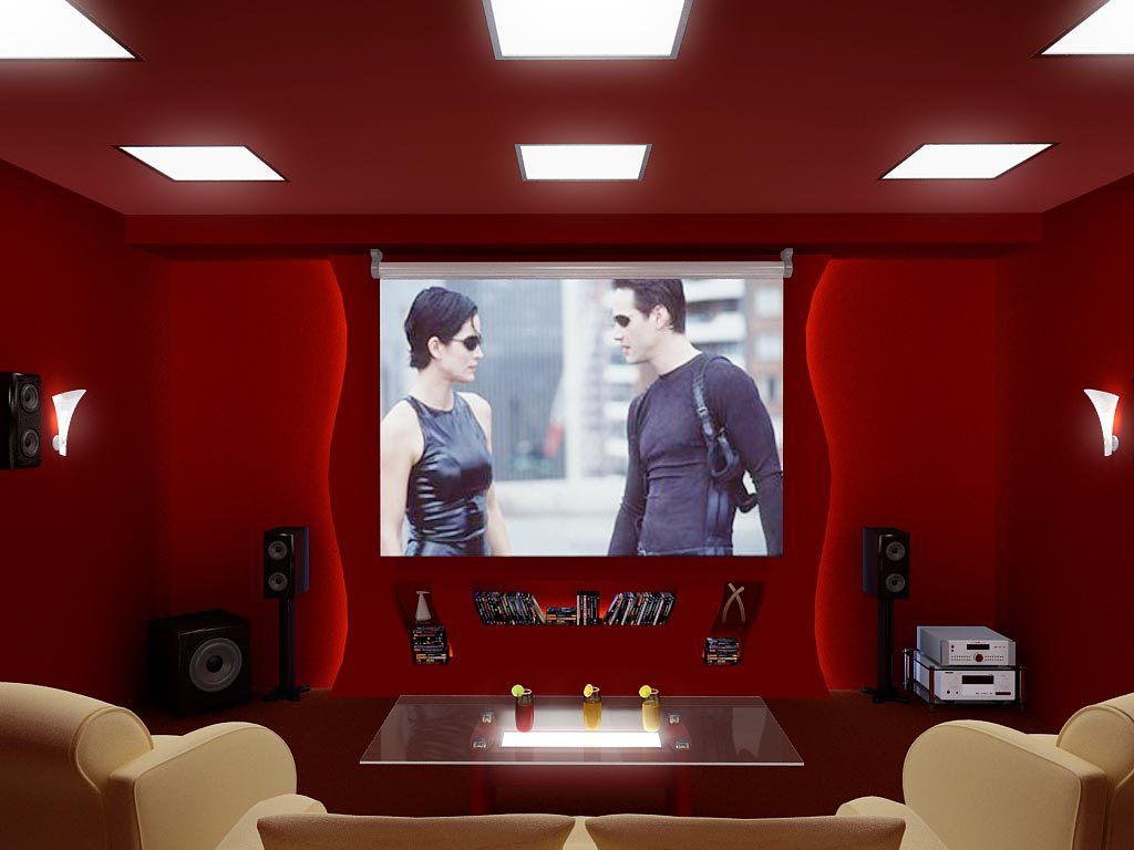 Дизайн интерьера домашнего кинотеатра в цокольном этаже загородного дома
