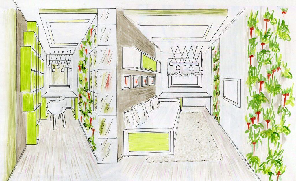Эскиз дизайна интерьера детской комнаты