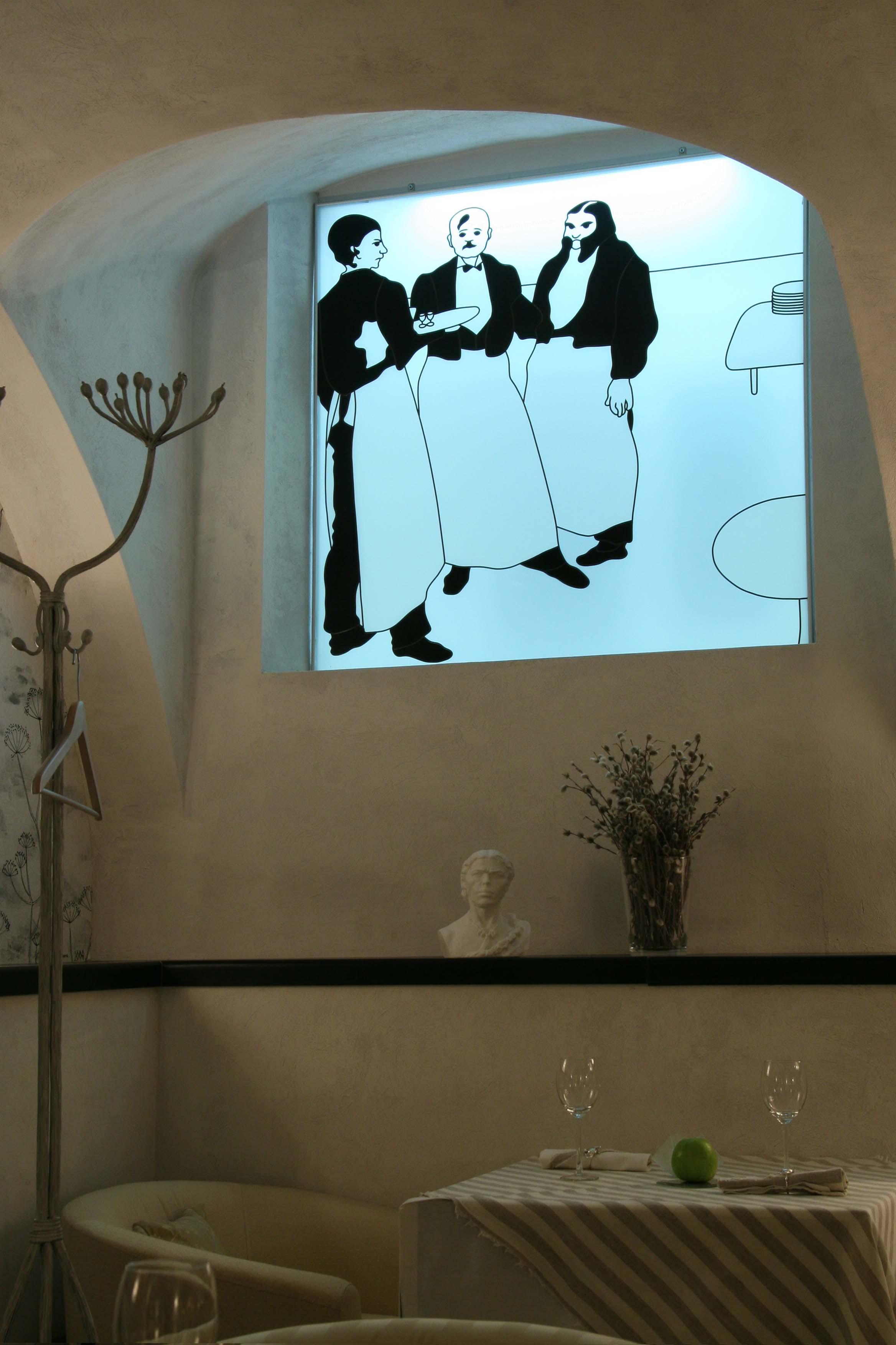 Витраж с рисунком Обри Бердслея
