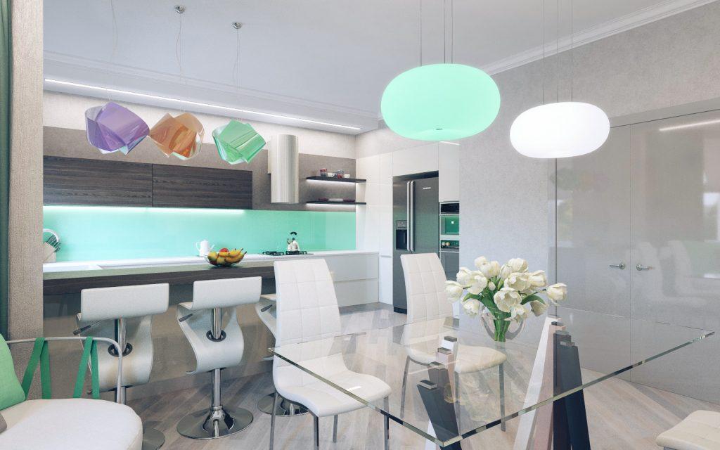 Сдержанные цвета кухонного гарнитура от фабрики Джулия Новарс оживляются мятным оттенком стеклянного кухонного фартука