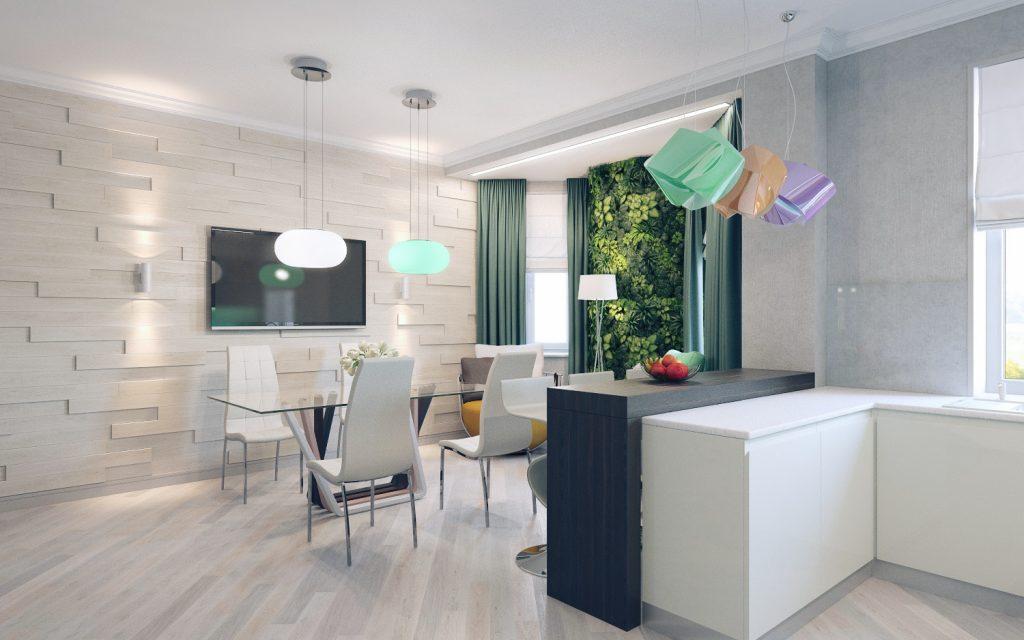 Стена в кухне-столовой оформлена рельефными деревянными панелями в форме разноформатных кирпичей