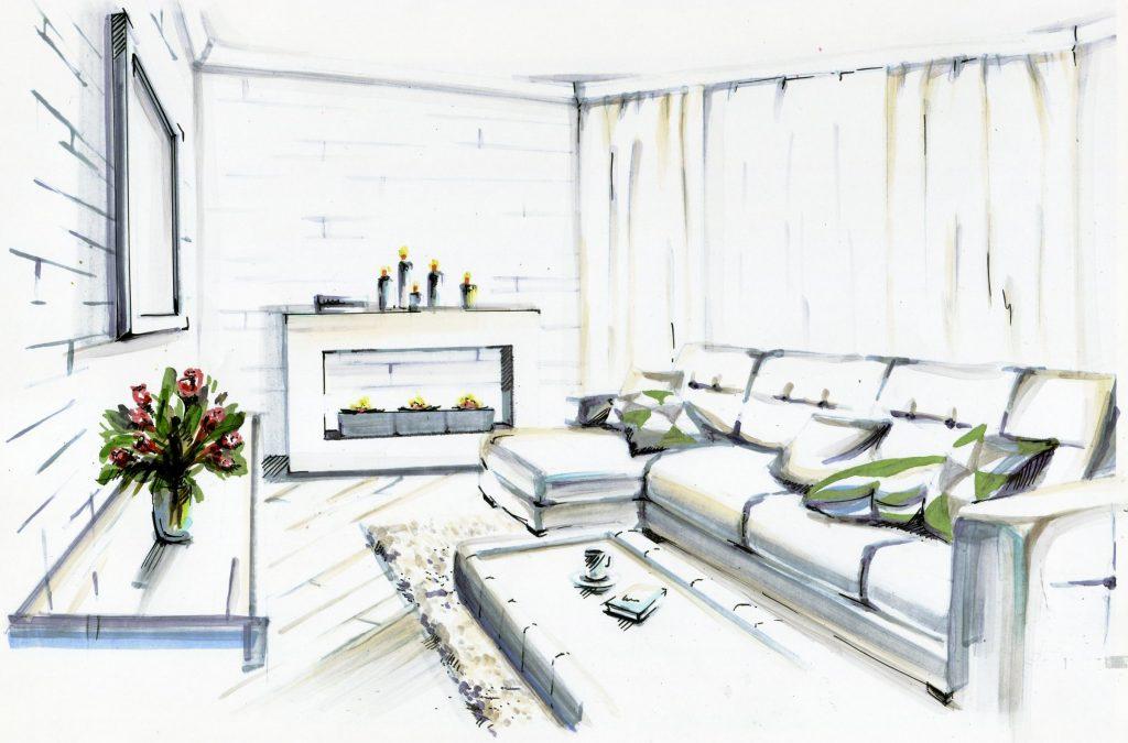 Эскиз дизайна интерьера гостиной с биокамином