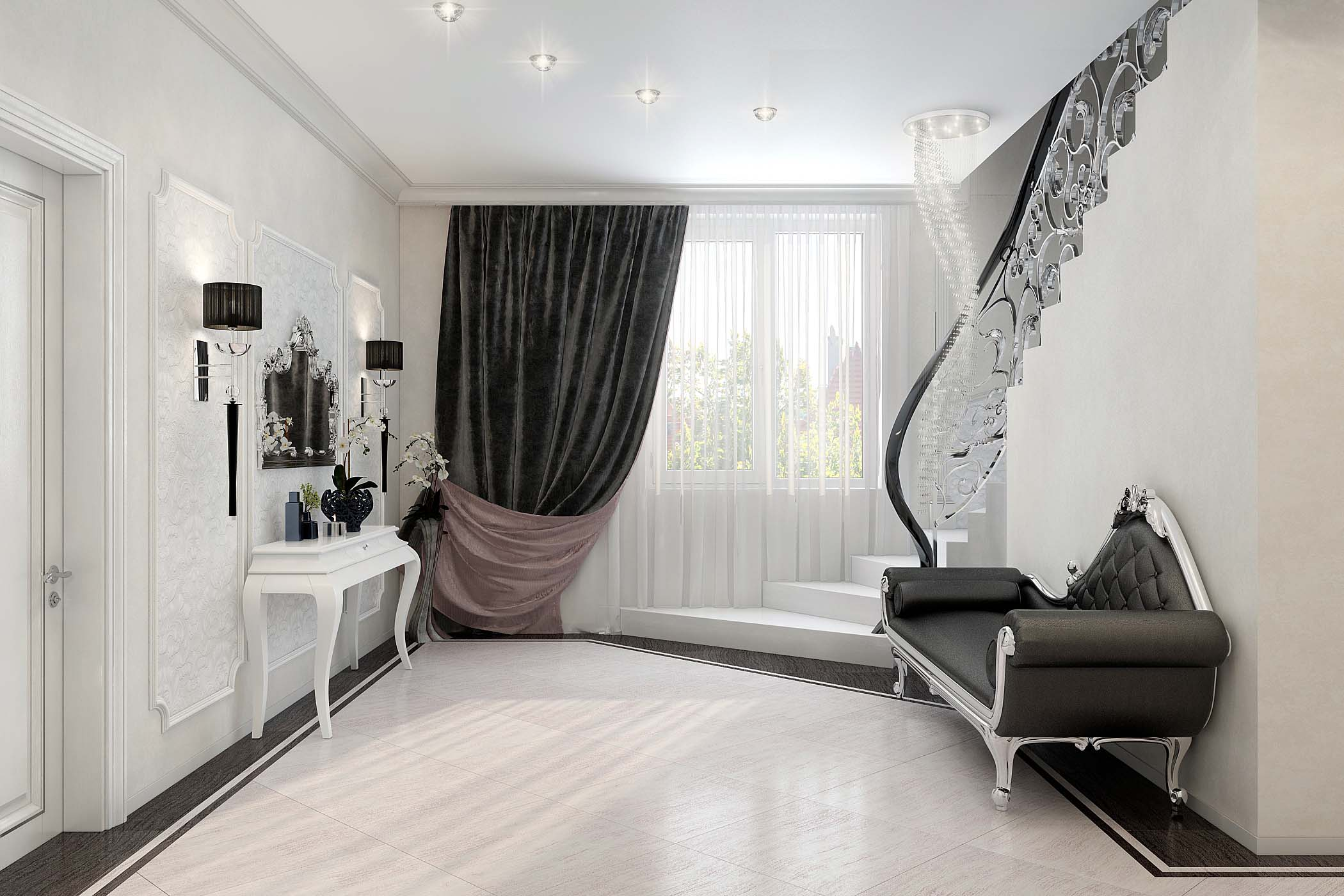 Дизайн интерьера холла 1 этажа