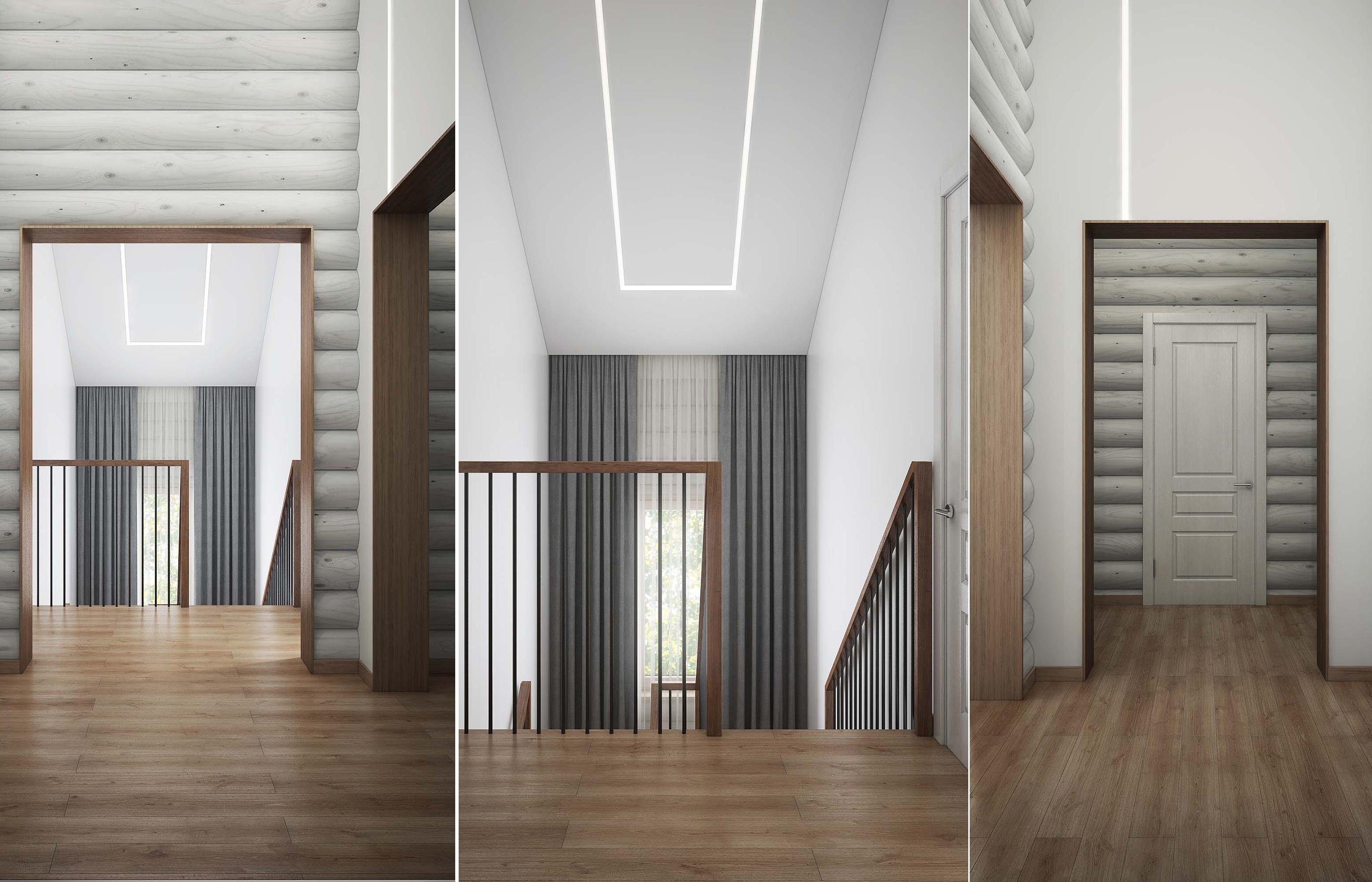 Минималистичный дизайн интерьера в деревянном доме