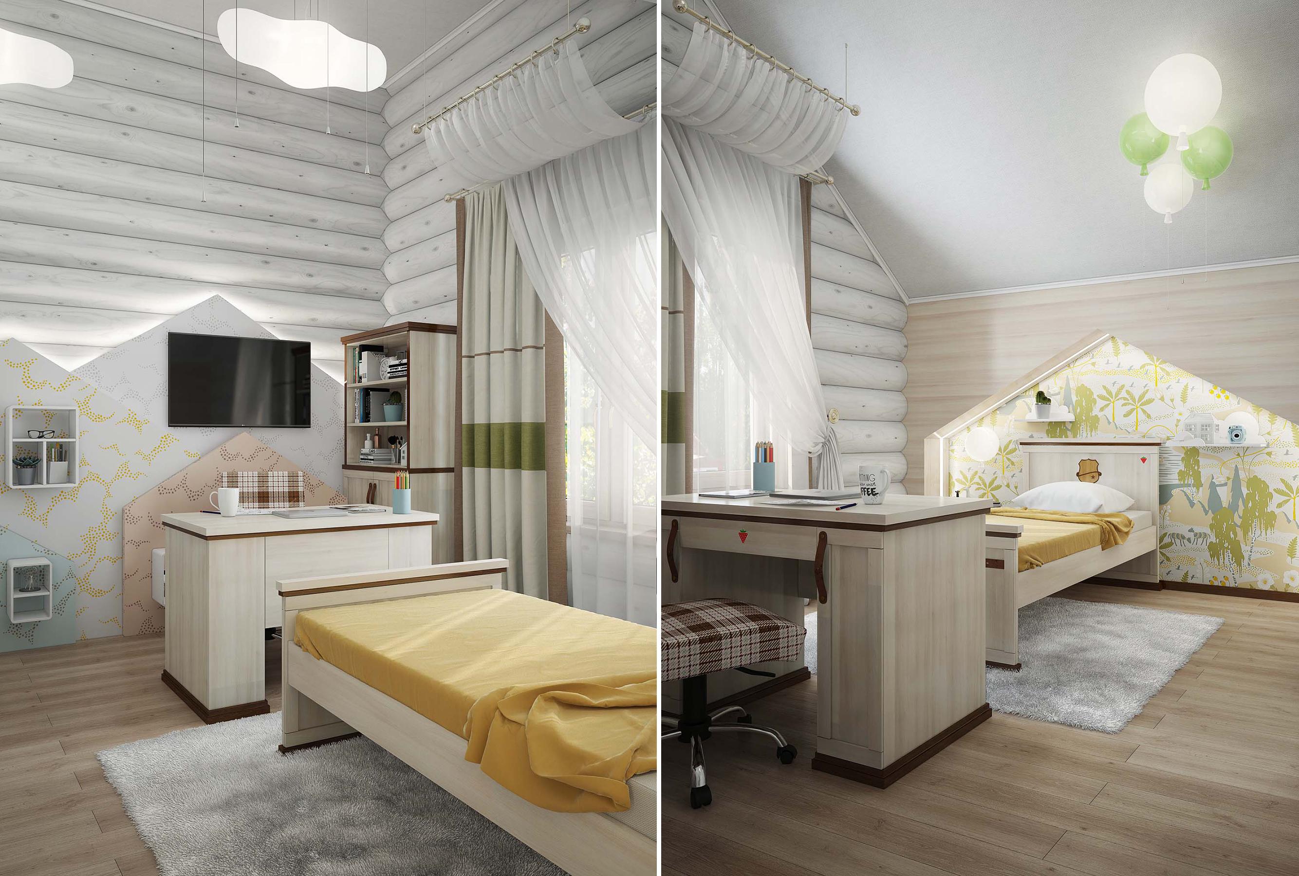 Дизайн интерьера детской комнаты в деревянном доме
