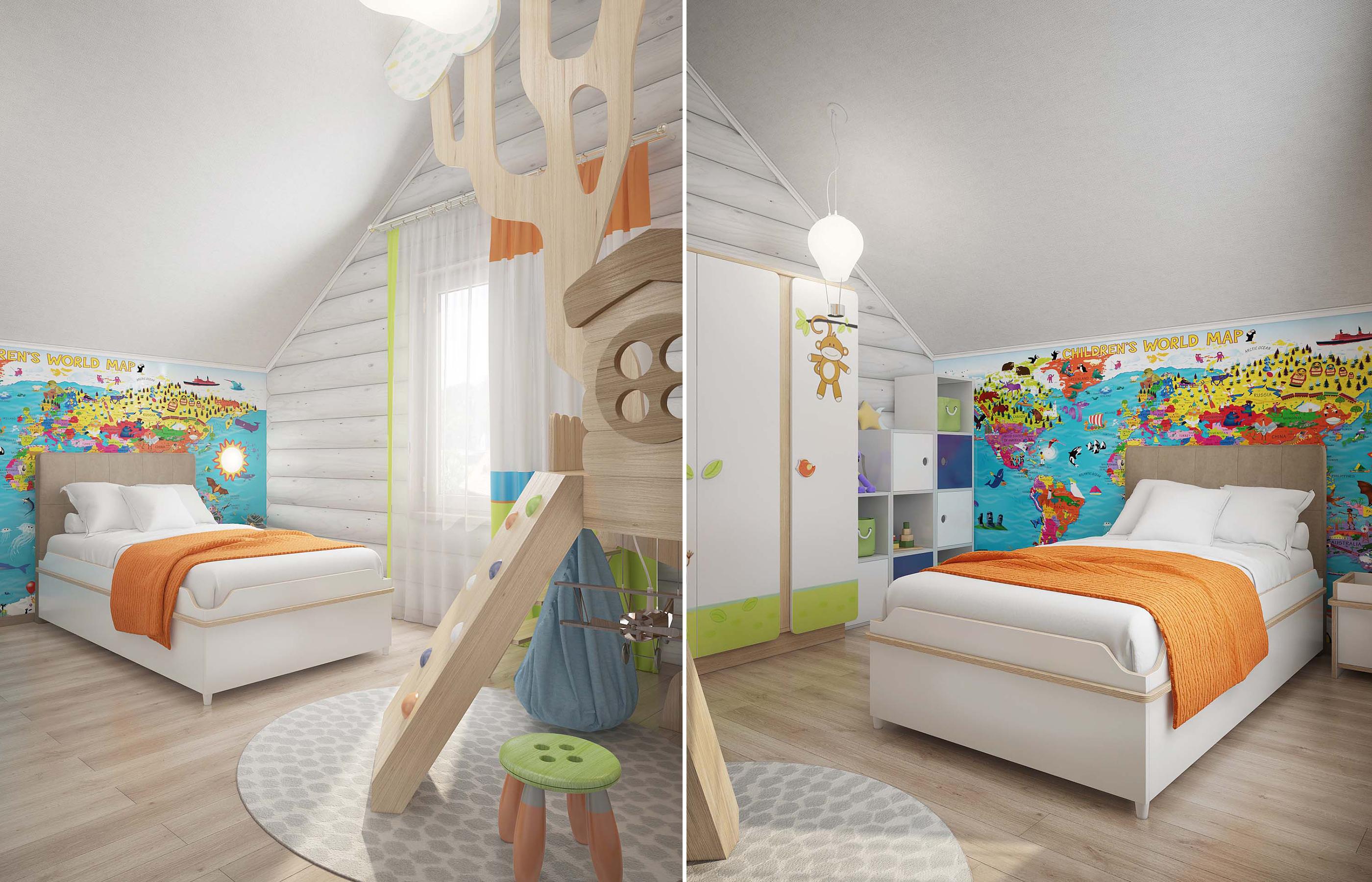 Дизайн интерьера комнаты мальчика в срубе