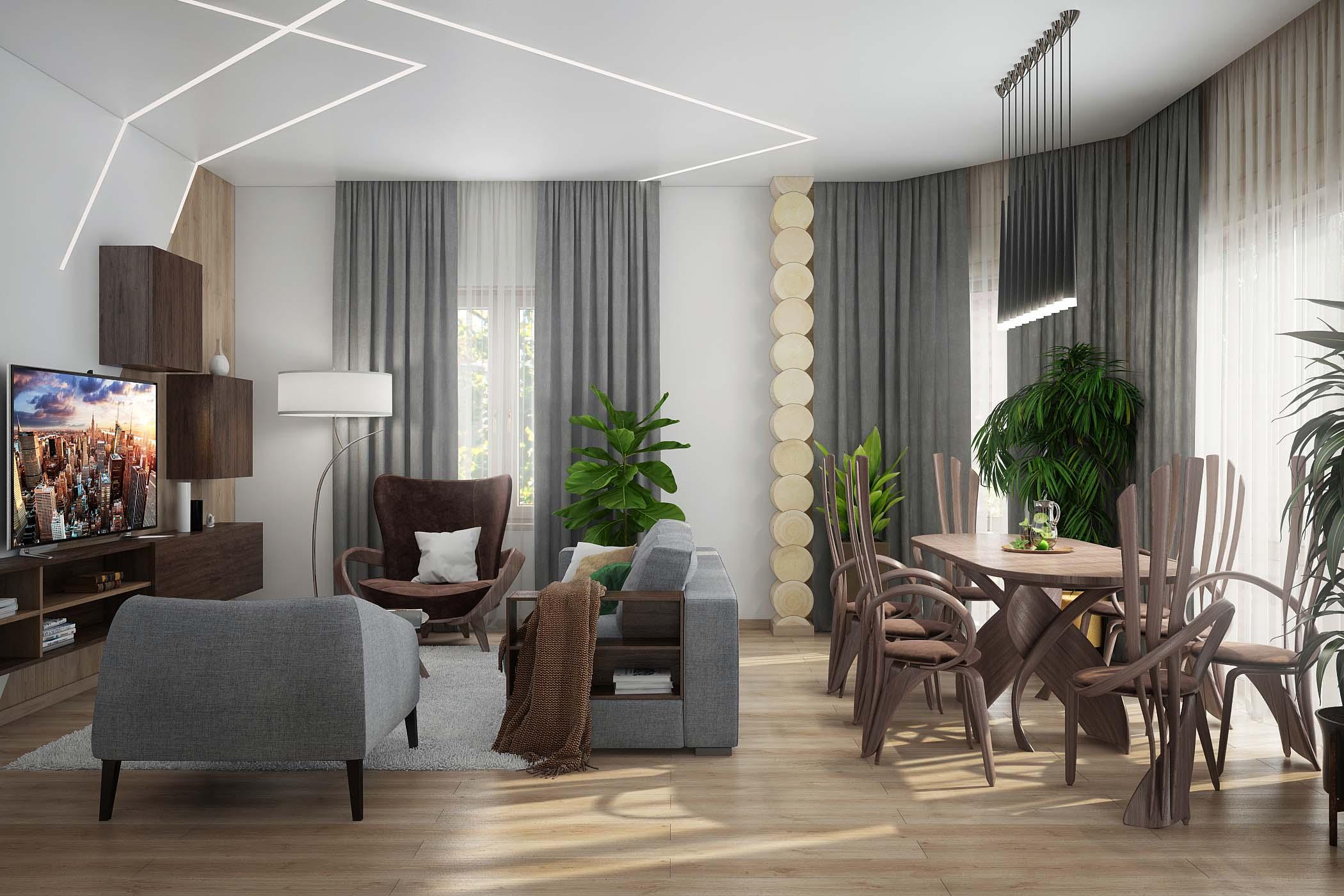 Дизайн интерьера гостиной в срубе