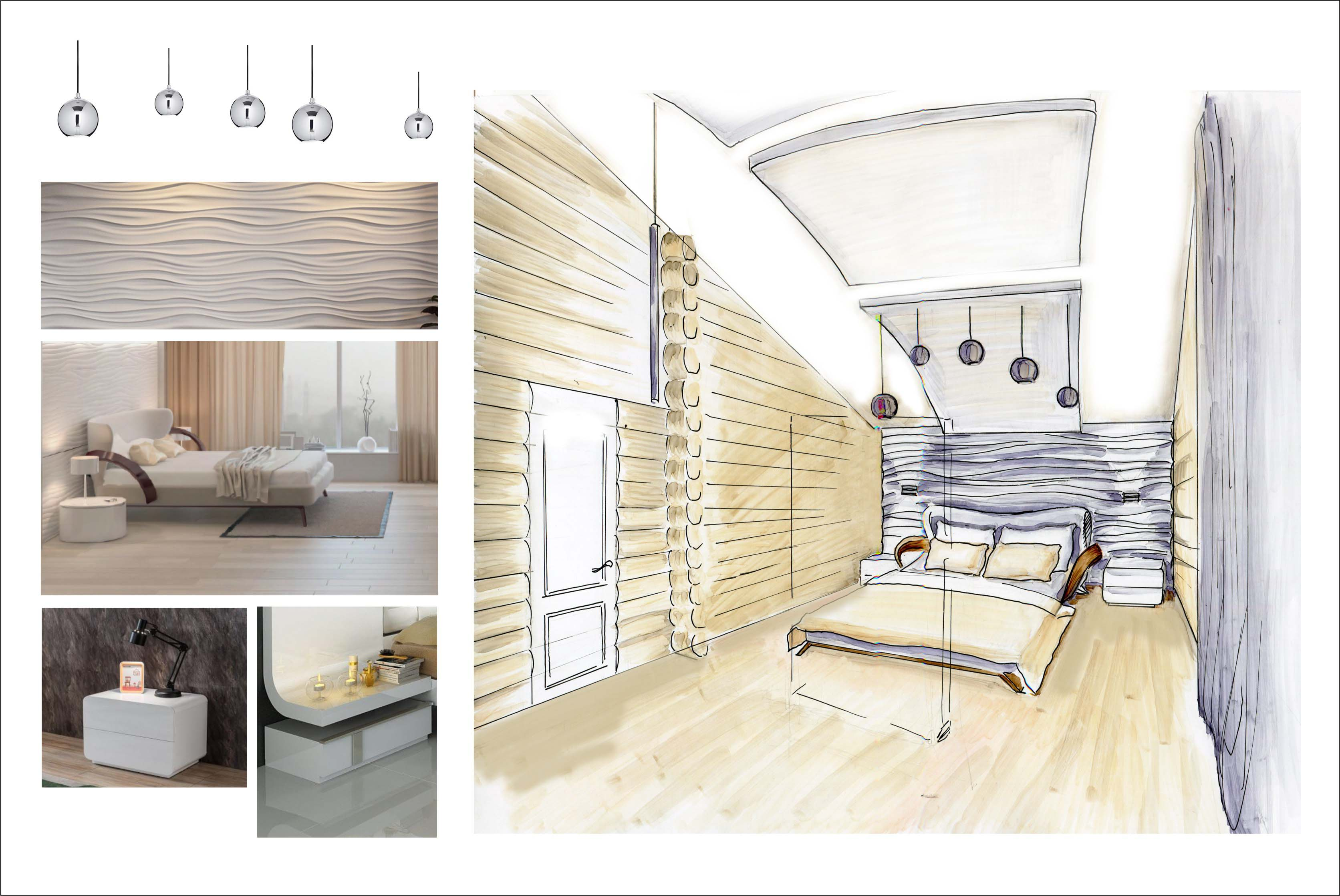 Концепция дизайна интерьера спальни в мансардном помещении