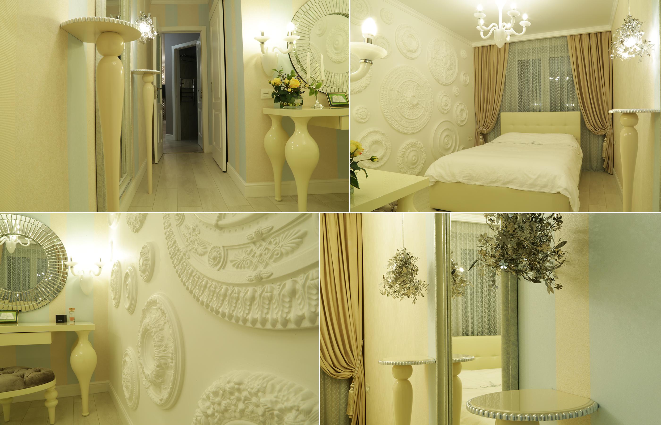 Дизайн интерьера спальни в сливочных тонах