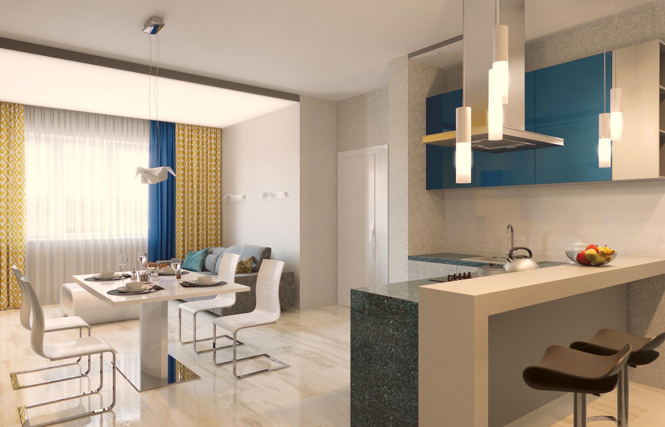 Проект дизайна интерьера объединенной кухни-гостиной