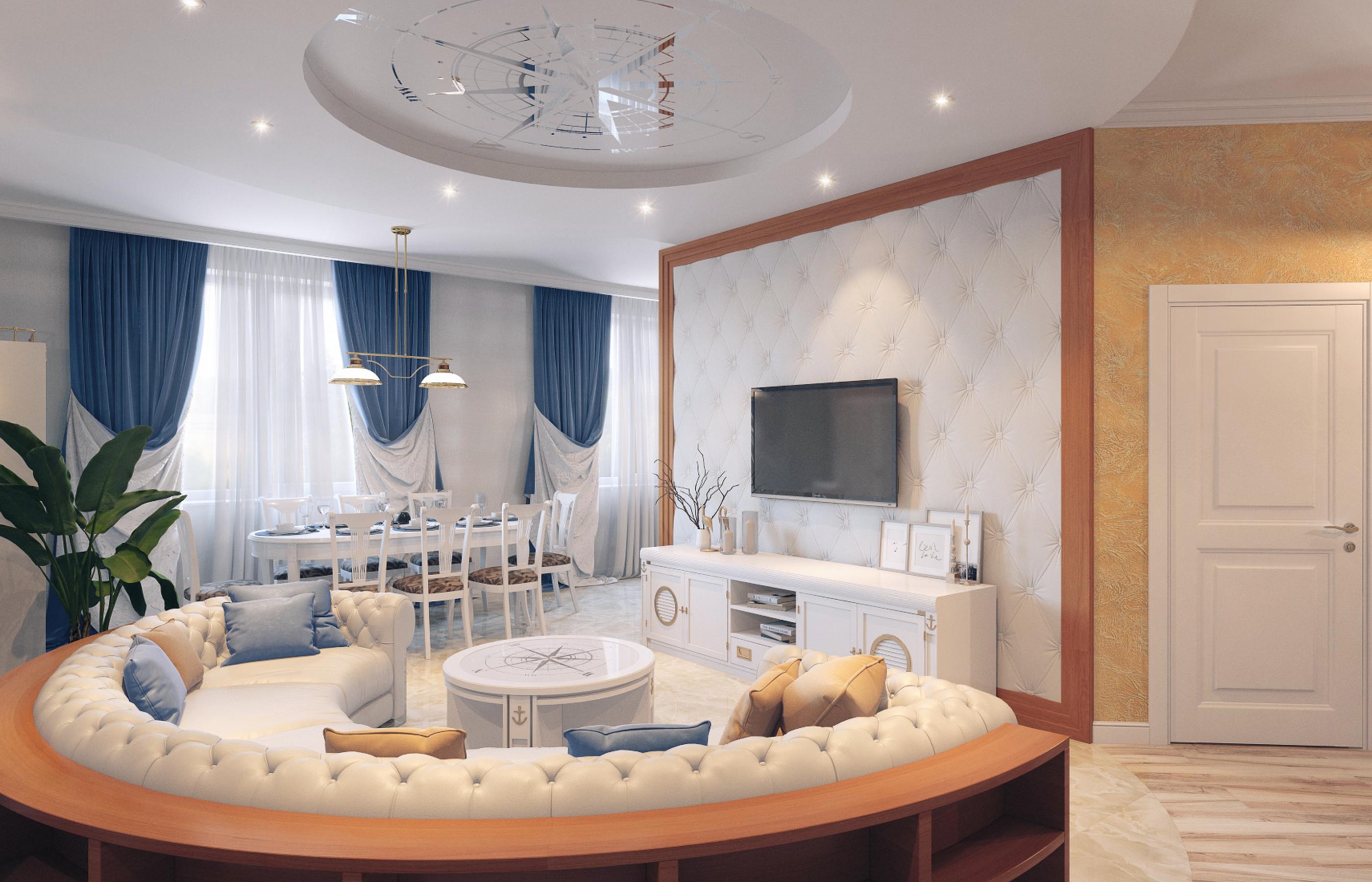 Дизайн интерьера гостиной в морском стиле