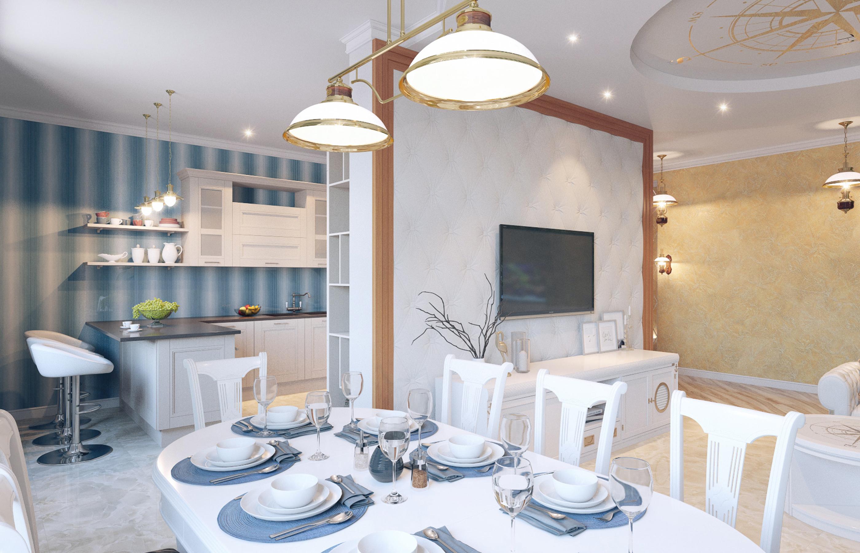 Дизайн интерьера столовой в морском стиле