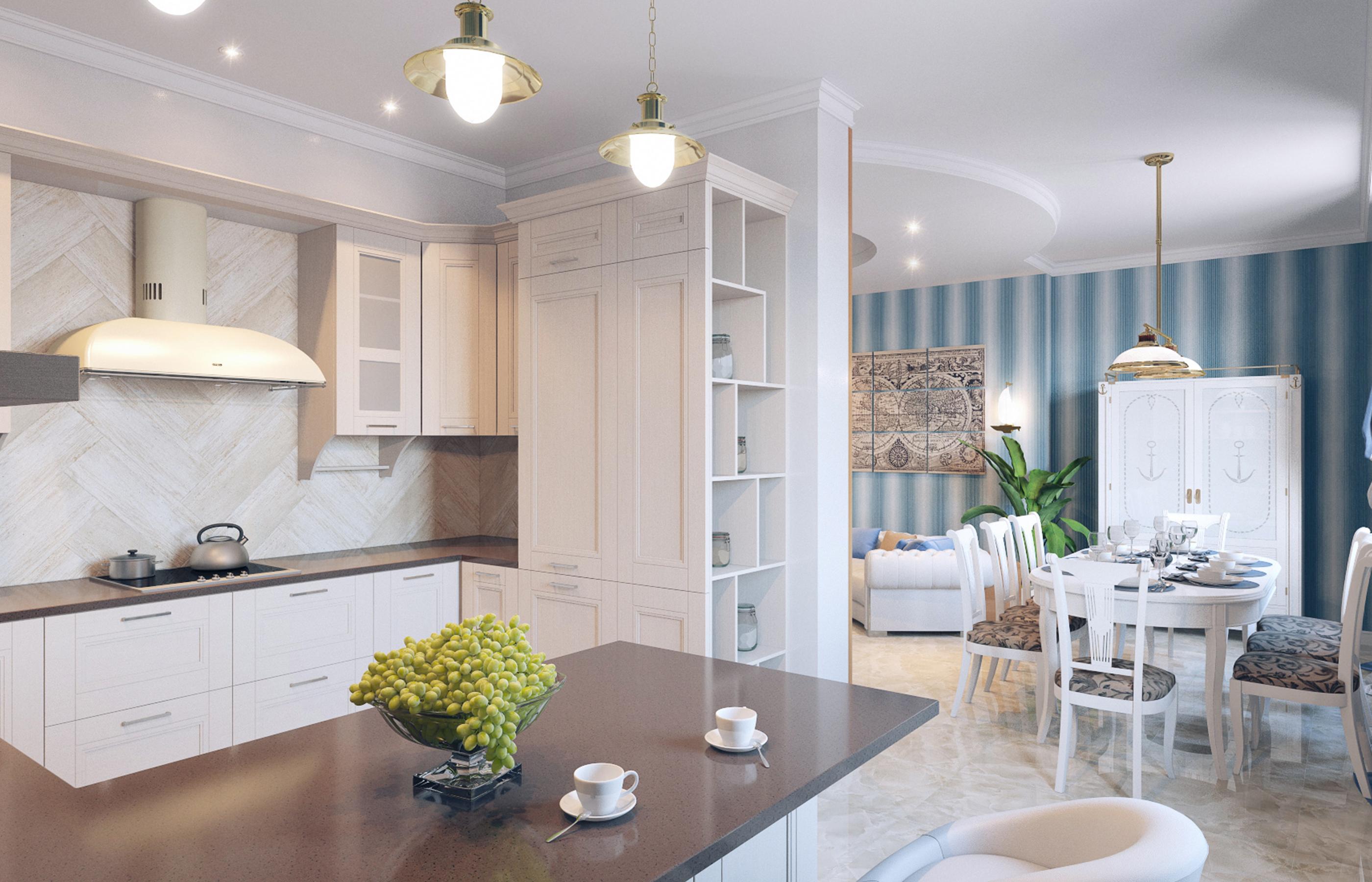 Кухню и столовую освещаем светильниками в корабельном стиле