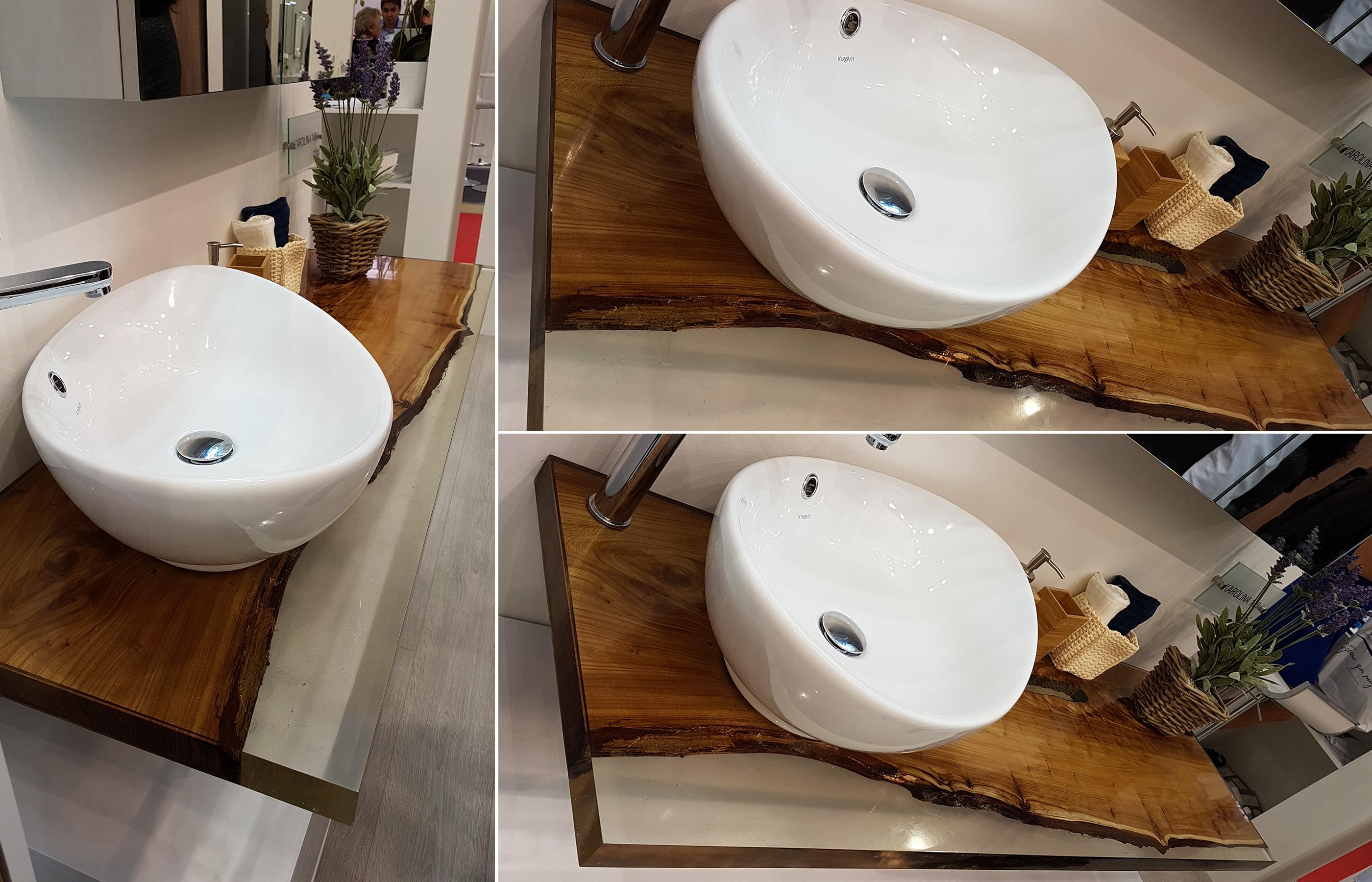 Деревянная столешница для интерьера экологичного ванной комнаты