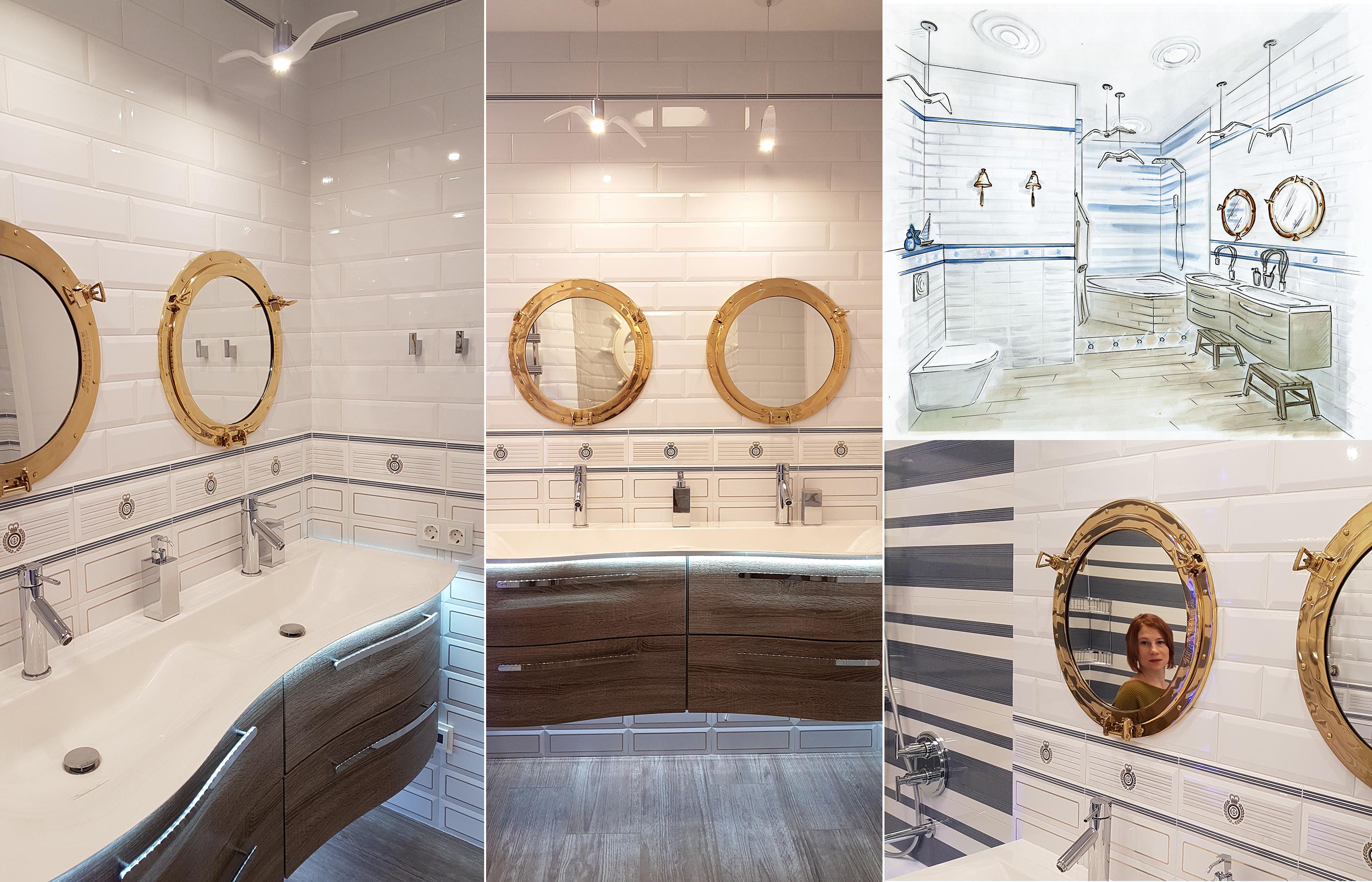 Эскиз ванной комнаты и фото реализованного интерьера ванной