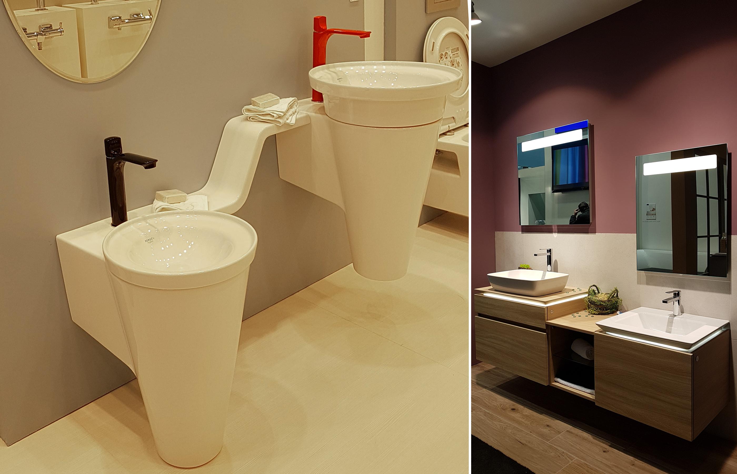 Детская и взрослая раковина в интерьере ванной комнаты