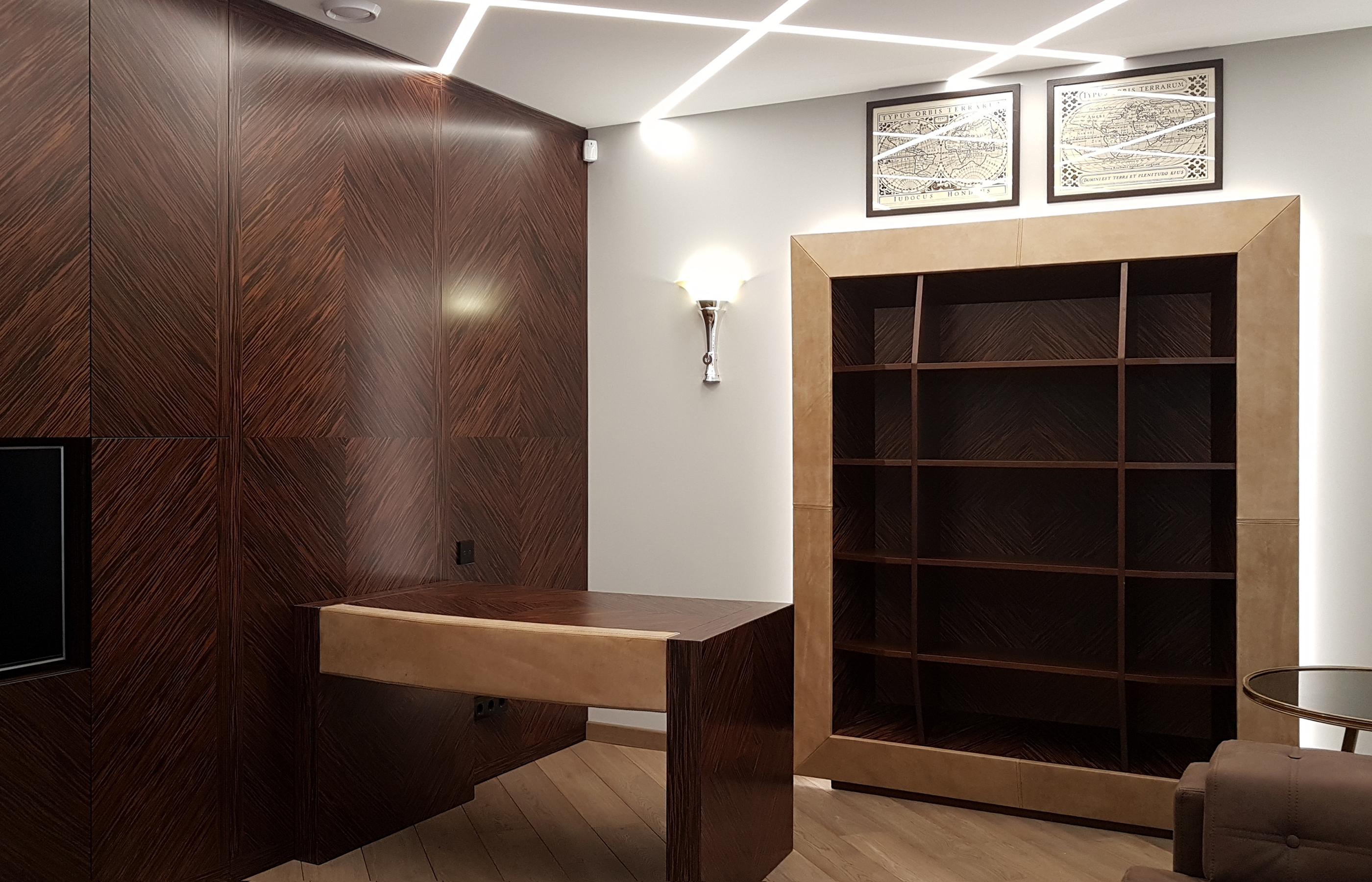 Скрытые шкафы в интерьере рабочего кабинета
