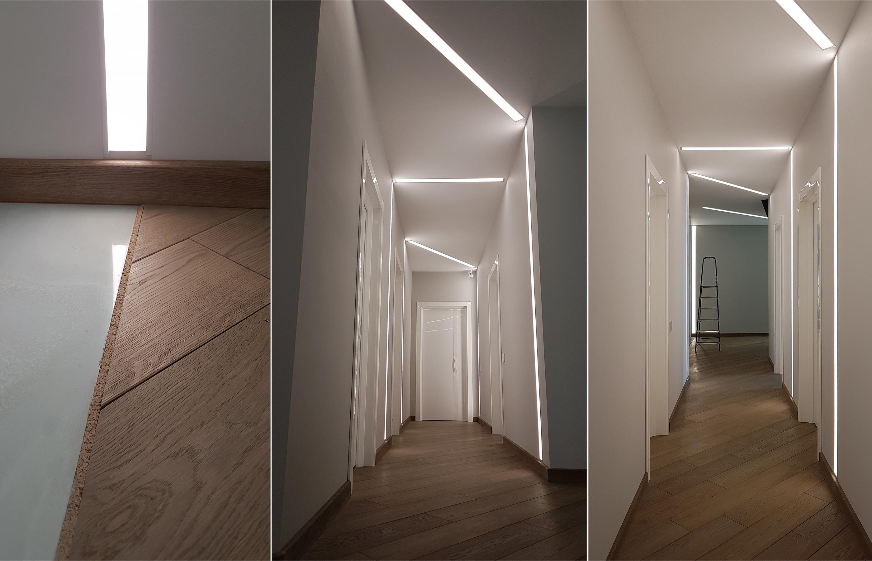 Линейные встроенные светильники формируют геометрию интерьера коридора