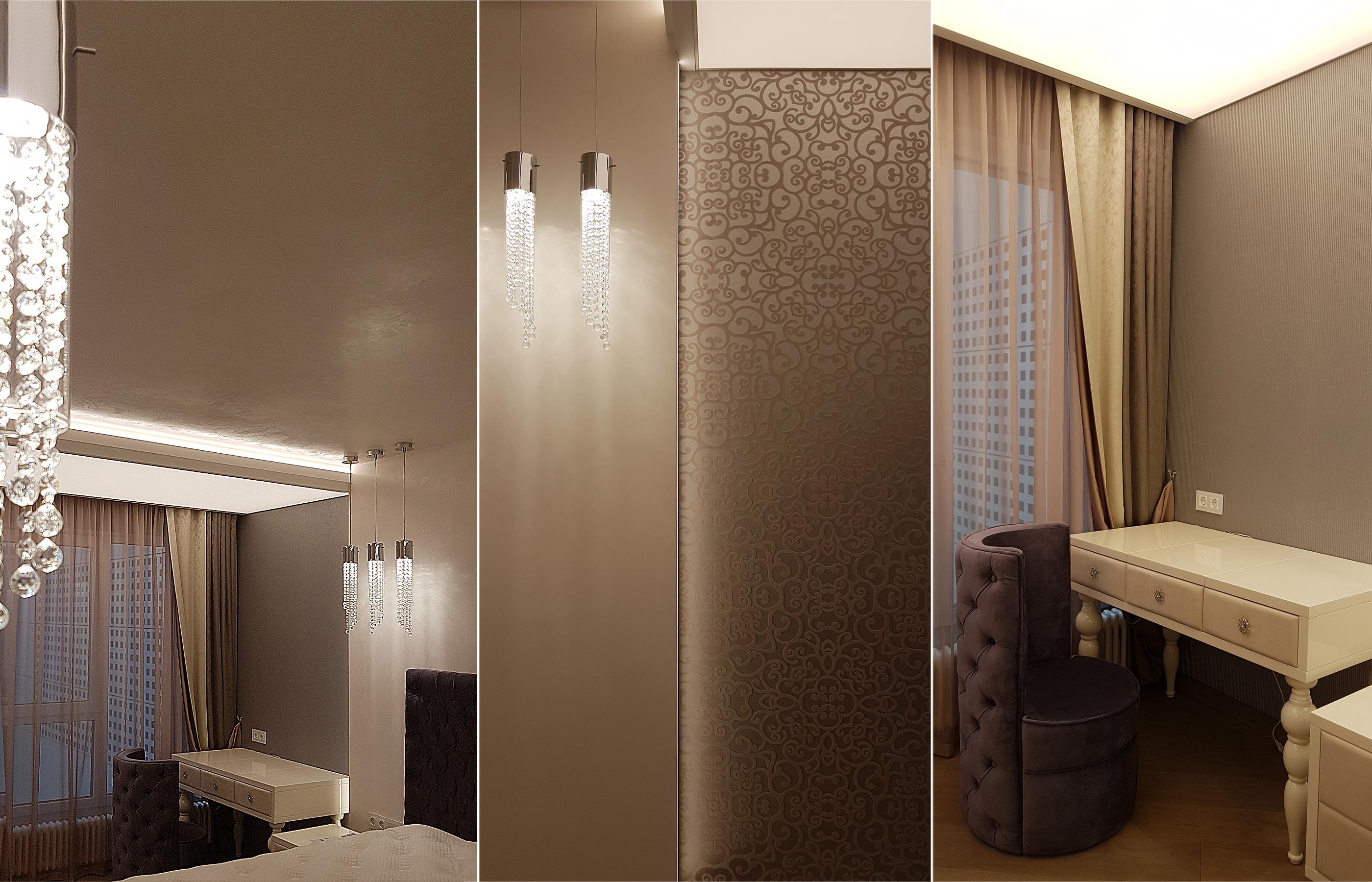 Дизайн интерьера спальни с текстильными обоями