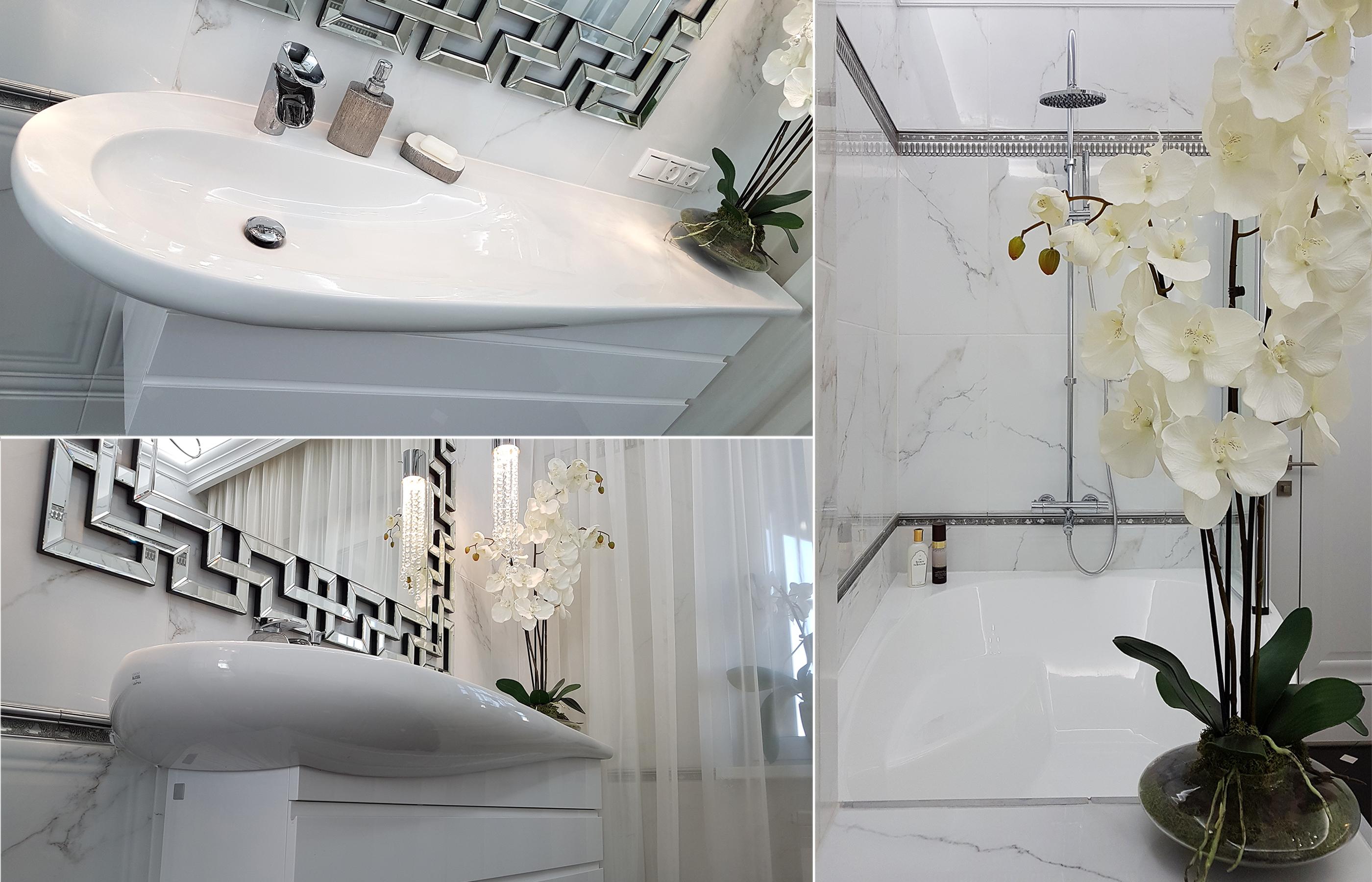Раковина Alessi, по форме очень похожая на каплю, смягчает графичный интерьер ванной комнаты