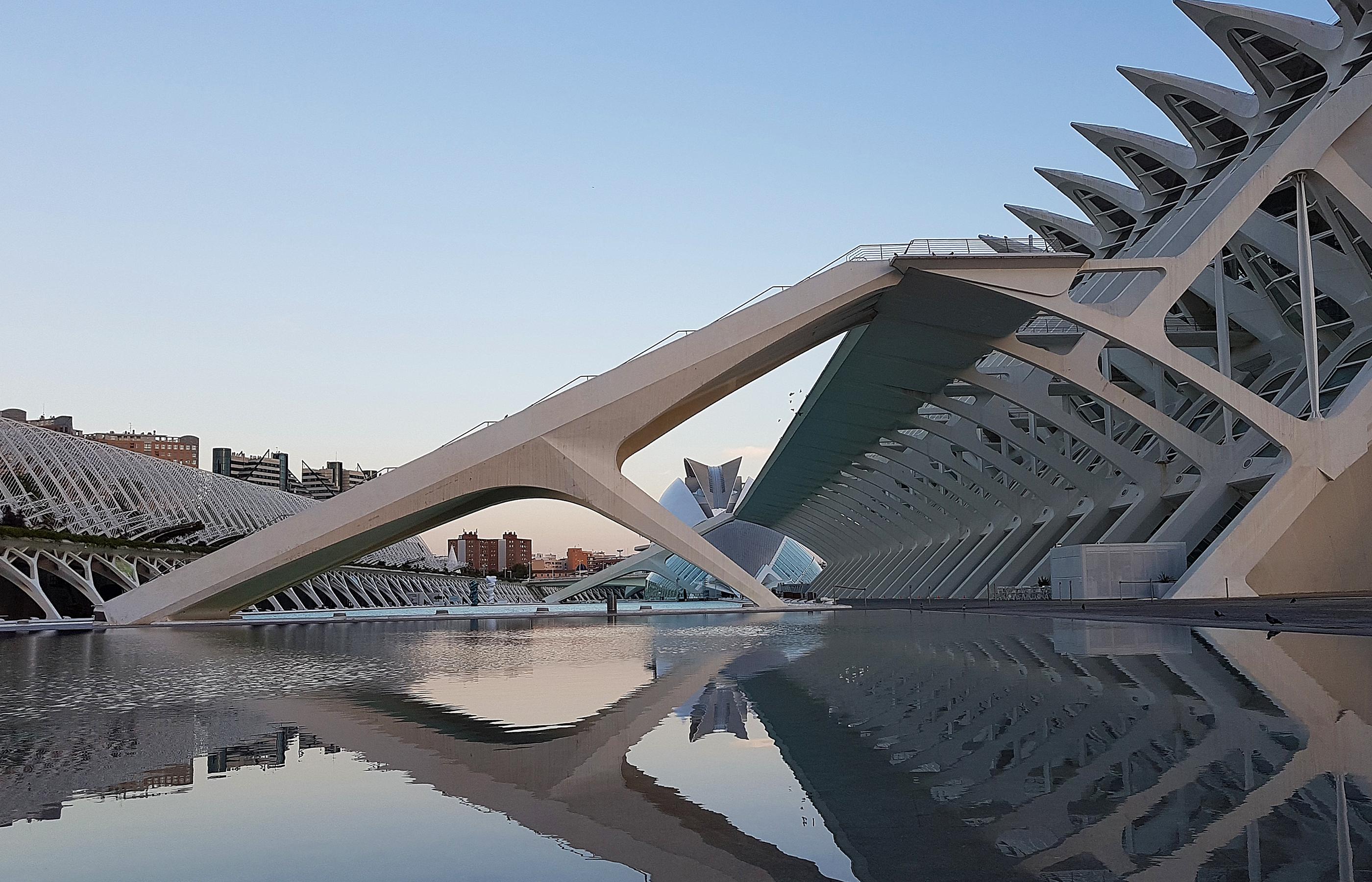 Музей Науки в Валенсии окружают фонтаны и бассейны. Отражаясь в воде, здание кажется невесомым