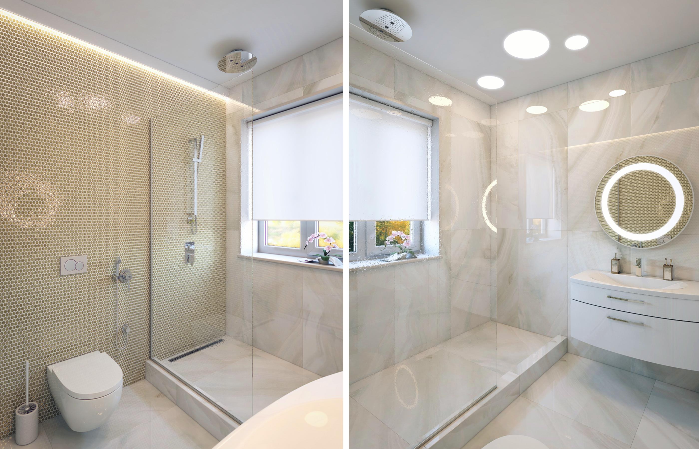Дизайн интерьера ванной комнаты с мозаикой из натурального перламутра